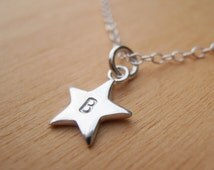 Tiny Silver Star Necklace With Initial - Sterling Silver