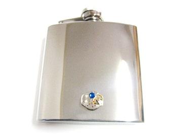 Steampunk Watch Gear Pendant 6 oz. Stainless Steel Flask with Blue Swarovski Crystal