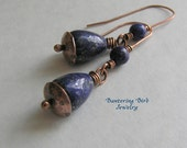 Long Blue Lapis Lazuli Dangle Earrings with Antiqued Hammered Copper Caps, Gemstone Egg Beads, Boho Jewelry