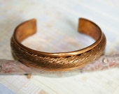 Vintage Copper Cuff Bracelet - Substantial Band with Thick Rope Design - 1950s