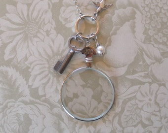 Vintage Optical Lens Necklace with Key