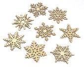 2014 Collection - Wooden Laser-Cut Holiday Snowflake Ornaments - 3 Inch Diameter - Set of 8