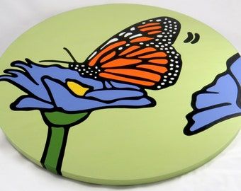 """Monarch Butterfly 16"""" Wooden Lazy Susan"""