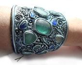 20%Off SALE. Sea Glass Bracelet. Fractal Bracelet. Multicolor Sea Glass Framed In a Clay Sculpture.Large Bracelet with artistic soul