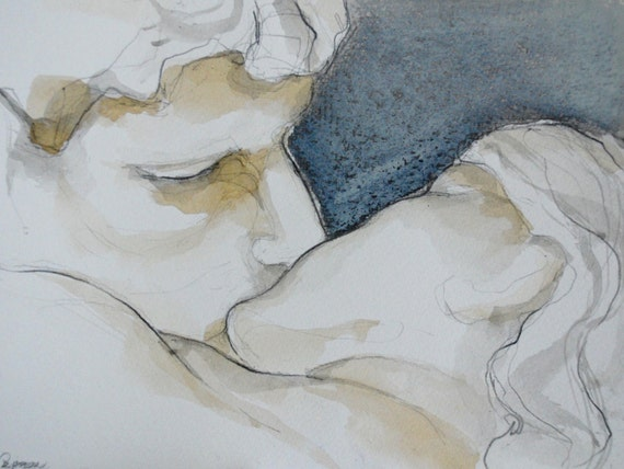 The Kiss-Original figurative art drawing-pencil/charcoal/ lovers art drawing/kiss drawing/modern art/passion drawing/ink/pastel oil drawing