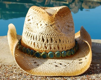 Straw Cowgirl Hat with Marbled Agate Band