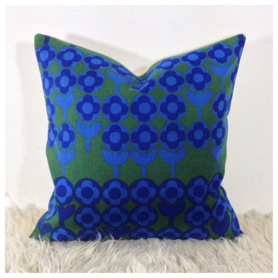 Throw Pillows Vintage Fabric : Throw Pillow Cover Vintage 1960s Verdure Fabric