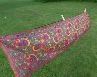 Vintage Multicolored Silk Scarf Made in India, Long Enough to Drape, Classic Pattern, Neck Wrap