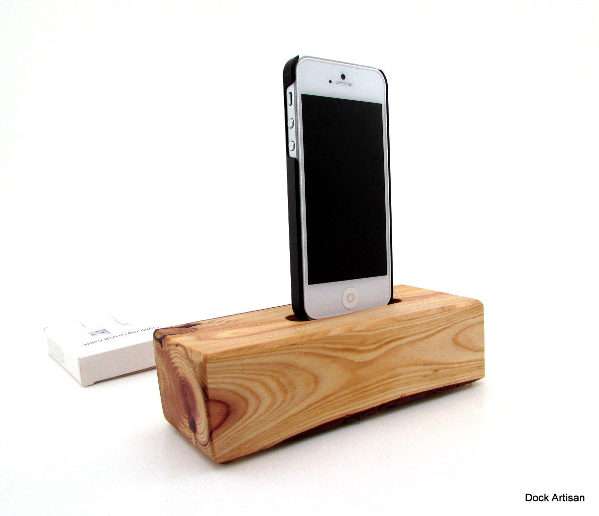 modern red wood iphone 5 6 docking station by dock artisan. Black Bedroom Furniture Sets. Home Design Ideas