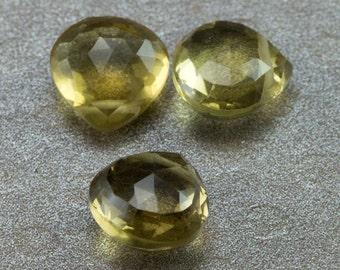 Honey Quartz Heart Briolettes - 9mm Heart Briolette Beads - Qty 3