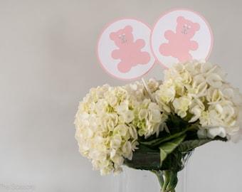 Teddy Bear Baby Shower Centerpiece Sticks, Teddy Bear Baby Shower Decoration, Girl Baby Shower, Pink Gray Baby Shower