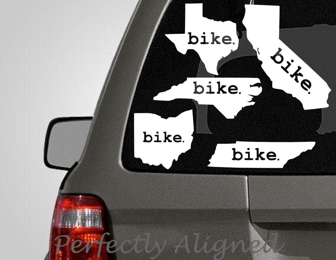 Choose your own home state with bike vinyl decal florida for Choose your own home