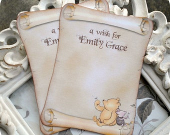 Personalized Classic Winnie the Pooh Wish Cards (12) - Pooh Wish Tags-Pooh Baby Shower-Advice Cards-Vintage Pooh-Pooh Birthday-Classic Pooh