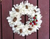 Handmade Burlap Pinecone Christmas Tree Wreath