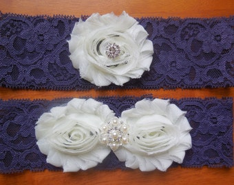 Wedding Garter , Garter , Purple Garter , Purple Wedding , Garter Set , Lace Garter , Fall Garter , Fall Wedding Garter