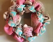 Peach/Pink, Mint Green Chevron Burlap Wreath