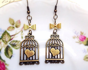 Brass Birdcage Earrings. Whimsical Dangle Earrings. Antique Gold. Heart. Bow. Gifts for Her. Woodland. Birds. Under 10. Simple Design. Fun.