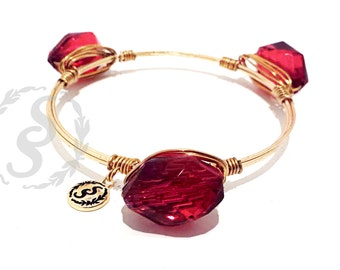 Garnet and Gold FSU Bangle Bracelet, Ruby Wire Wrap Bangle, Seminoles Red Crystal Bangle