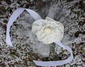 Upcycled Steampunk Clothing - Wedding or Graduation Wrist Corsage - Cream with Cream Tulle, White Ribbon Ties and a Vintage Button