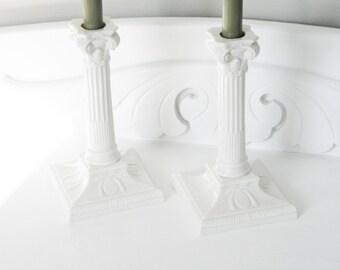 Antique Worcester White Porcelain Candle Sticks 19th Century