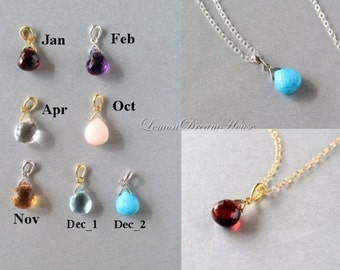 Birthstone Necklace, Personalized Necklace, Gemstone Birthstone Pendant, Heart Briolette, Gold-filled Chain, Sterling Chain. Dainty. N167.