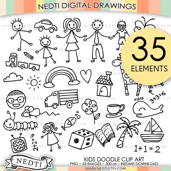 Scribble Drawing Kids : Bestseller kinder doodle clipart cute hand