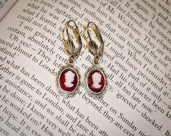 Burgundy Jane Austen Style Silver Cameo Earrings