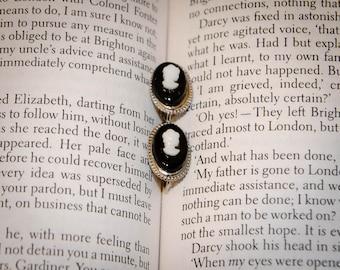 Jane Austen Downton Abbey Edwardian Style Cameo Clip Earrings