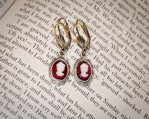 Burgundy Jane Austen Style Silver Cameo Earrings