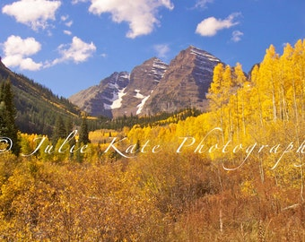 "20"" x 40"" Print on Canvas, Fine Art Print, Maroon Bells, Colorado Landscape, Mountains, Fall - ""Colorado's Color Spectrum"""