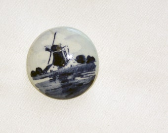 Vintage Delft Pin Blue Holland with Windmill