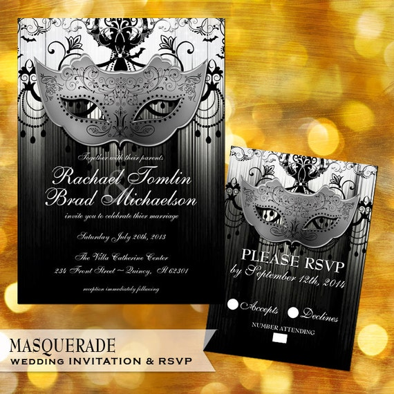 Masquerade Wedding Invitation Set Masquerade Ball Black and White