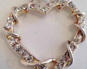 Heart Pendant with Rhinestones