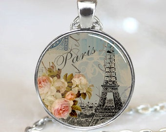 Eiffel Tower with White and Pink Flowers, Paris, France, Handcrafted  Necklace Pendant (PD0151)