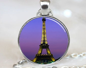 Eiffel Tower at Night Paris France Handcrafted  Necklace Pendant (PD0199)