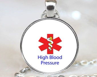 Medical Information Pendant - High Blood Pressure Handcrafted  Necklace Pendant with Ball Chain Included(PD0272)