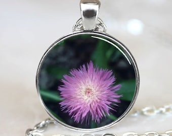 Pink Corn Flower  Pendant Handcrafted  Necklace (PD0259)