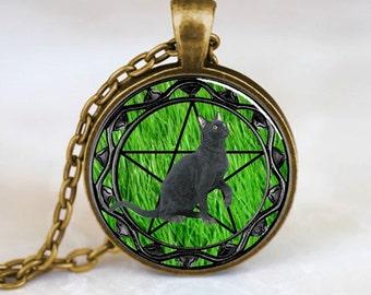 Black Cat Pendant, Black Cat Necklace, Black Cat Jewelry, Black Cat Charm, Bronze (PD0307)