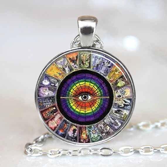 Tarot Card pendant, Tarot Card Necklace, Tarot Card Jewelry, Tarot Card Charm (PD0195)