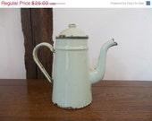 CLOSING DOWN SALE Mint decor - mint coffee pot - vintage coffee pot - vintage french coffee pot - vintage mint enamelware