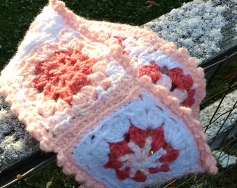 Pink Headband- Crochet Granny Squares- Womans Winter Earwarmer- Ready To Ship