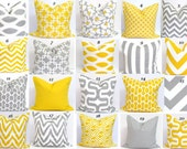 Gray Yellow Pillows.ALL SIZES. Decorative Pillow Covers.Cushion Covers.Home Decor.Large.Zigzag.Housewares.Gray.Grey.Yellow Pillow Cushion.cm