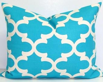 BLUE PILLOW.12x20, 16x24 or 16x20. Pillow Cover.Decorative Pillows.Blue Pillows.Housewares..Tile.Moroccan.Quatrefoil.Shamrock.Cushion.Cm.