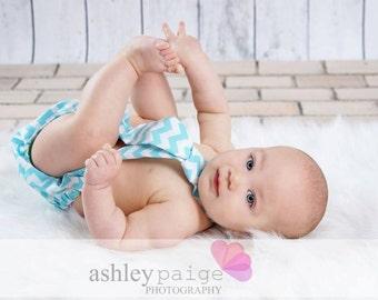 Baby Boy Tie and Diaper cover SET - Aqua and White Chevron