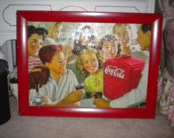 REDUCED.....Awesome Retro Coca Cola Chippy Frame Puzzle, Retro decor, Retro Kitchen, Nostalgia, Coca cola collector