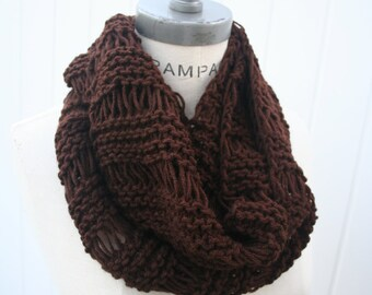 Brown Hand  Knit Scarf, gift Women Scarves, Hand Knitted Infinity Scarf, Fall Fashion Knit winter scarf - By PiYOYO