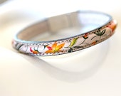 floral print leather bangle bracelet, orange lilies magnetic clasp, colorful flower leather bracelet, chic, modern handmade by girlthree
