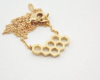 Honeycomb Necklace, Geometric Necklace, Beehive necklace