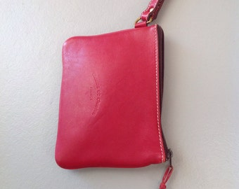 1 Charles et Charlus FRANCE zip top pouch or wristlet, lipstick red leather