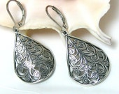 Silver Jewelry - Silver Earrings Filigree - Jewelry Gift Under 25 - Silver Dangle Earings - Unique Sister Gift
